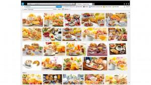 """Google_Bildersuche """"Frühstück"""" mit lauter Collagen aus Orangensaft, Brötchen, Ei und allem, was im Kühlschrank ist"""