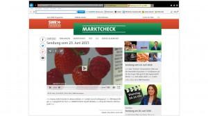 Screenshot zur Sendung Marktcheck, Video-Bild mit Erdbeeren und Himbeeren