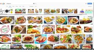 Seite mit vielen kleinen Bildern von Mittagessen: warme Gerichte auf Tellern, Gulasch usw.
