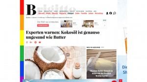 """Screenshot BRIGITTE.de: """"Experten warnen: Kokosöl ist genauso ungesund wie Butter"""" - Bild mit Schlagzeile und Koksonüssen"""