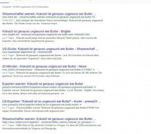 """Screenshot Google-Suche zu """"Kokosöl so ungesund wie Butter"""", lauter identische Überschriften"""