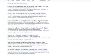 """Schlagzeile_englScreenshot Google-Suche zu """"Coconut Oil as Unhealthy as Butter"""" auf Englisch, identische Schlagzeilen"""