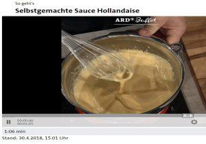 Schüssel, Schneebesen, gelbe Creme (Sauce Hollandaise)