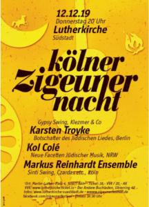 """Plakat mit Schrift """"Kölner ZIgeunernacht"""", 12.12.2019"""